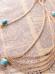 Gold Plated Turquoisel Gypsy Layer Head Chain