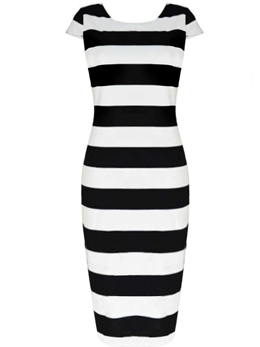 Round Neck Striped Scoop Back Midi Bodycon Dress