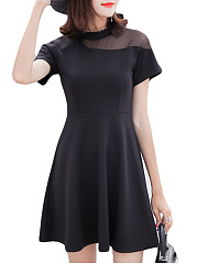 Crew Neck  Patchwork  Plain Skater Dress