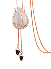 Opal Stone Rose Shape Long Necklace