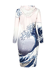 Sea Wave Printed Hooded Kangaroo Pocket Bodycon Dress