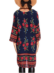 Charming Tie Collar Floral Tribal Printed Shift Dress