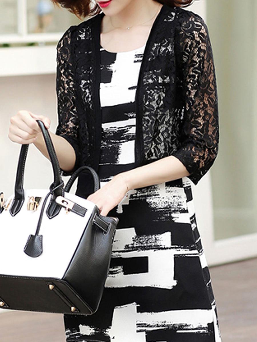 Decorative Lace  Plain  Three-Quarter Sleeve Cardigans