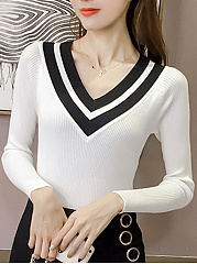 Striped-V-Neck-Knitted-Long-Sleeve-T-Shirt