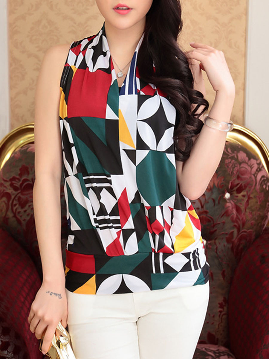 Stylish V-Neck Color Block Printed Sleeveless T-Shirt