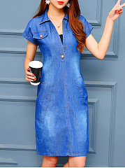 Split Neck Denim Light Wash Bodycon Dress