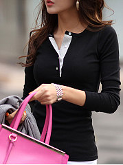 Autumn Spring  Cotton Blend  Women  Henley Collar  Plain Long Sleeve T-Shirts