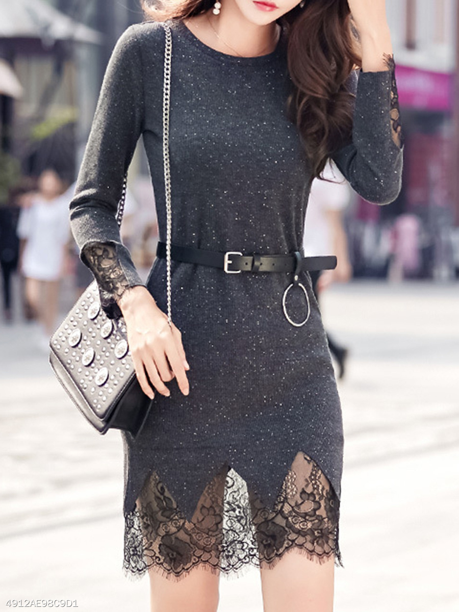Round Neck  Patchwork  Lace Bodycon Dress
