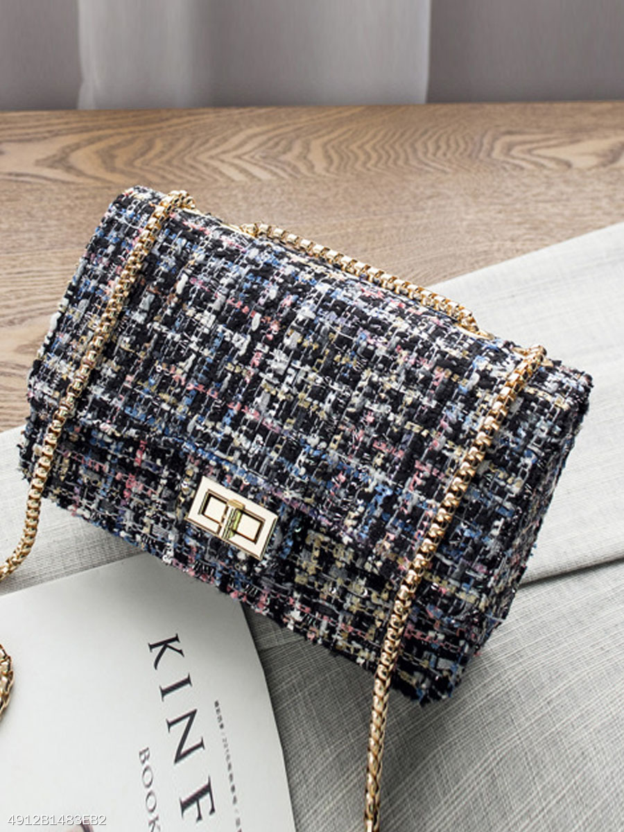 Tweed Chain Classic Plaid Chain Crossbody Bag