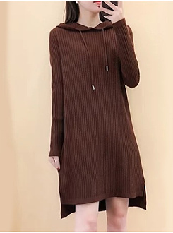 Hooded  Slit  Plain Shift Dress