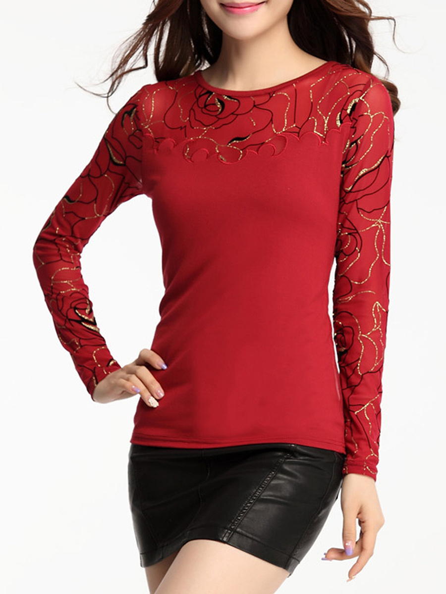 Round Neck Sparkling Designed Patchwork Hollow Out Long Sleeve T-Shirt
