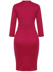Sweet Heart  Single Breasted Slit  High Stretch  Plain Bodycon Dress