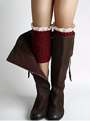 Leaf Shape Hollow Out Lace Leg Warmers