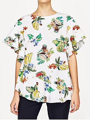 Summer-Cotton-Women-Round-Neck-Asymmetric-Hem-Backless-Slit-Floral-Printed-Petal-Sleeve-Short-Sleeve-T-Shirts