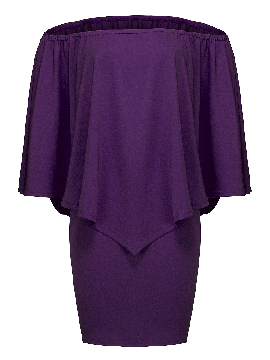 Off Shoulder Cape Sleeve Plain Bodycon Dress