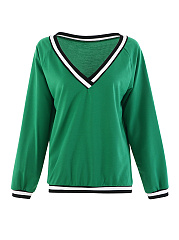 Autumn Spring  Polyester  V-Neck  Plain  Long Sleeve Sweatshirts