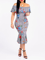 Word Collar  Floral Plaid Printed Bodycon Dress