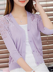 Single Breasted  Hollow Out Plain  Three-Quarter Sleeve Cardigans