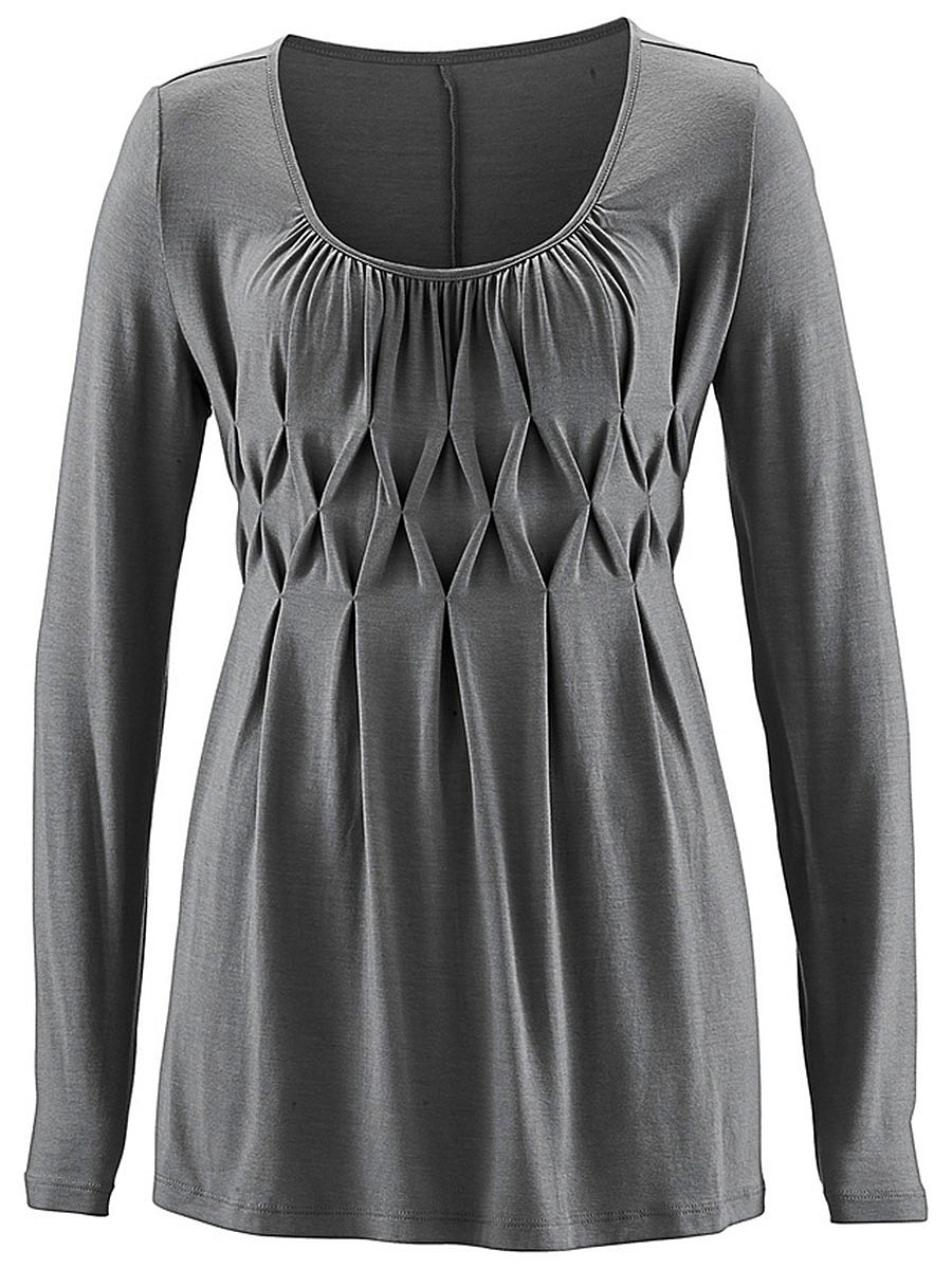 Round Neck  Ruched  Plain Long Sleeve T-Shirt