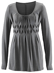 Round-Neck-Ruched-Plain-Long-Sleeve-T-Shirt