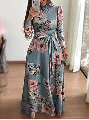 Cowl Neck  Belt  Printed Maxi Dress