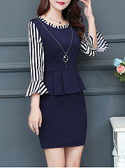 Round Neck Necklace Striped Bell Sleeve Bodycon Dress