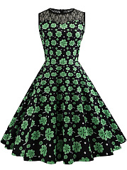 Round Neck Allover Clover Printed Hollow Out Skater Dress