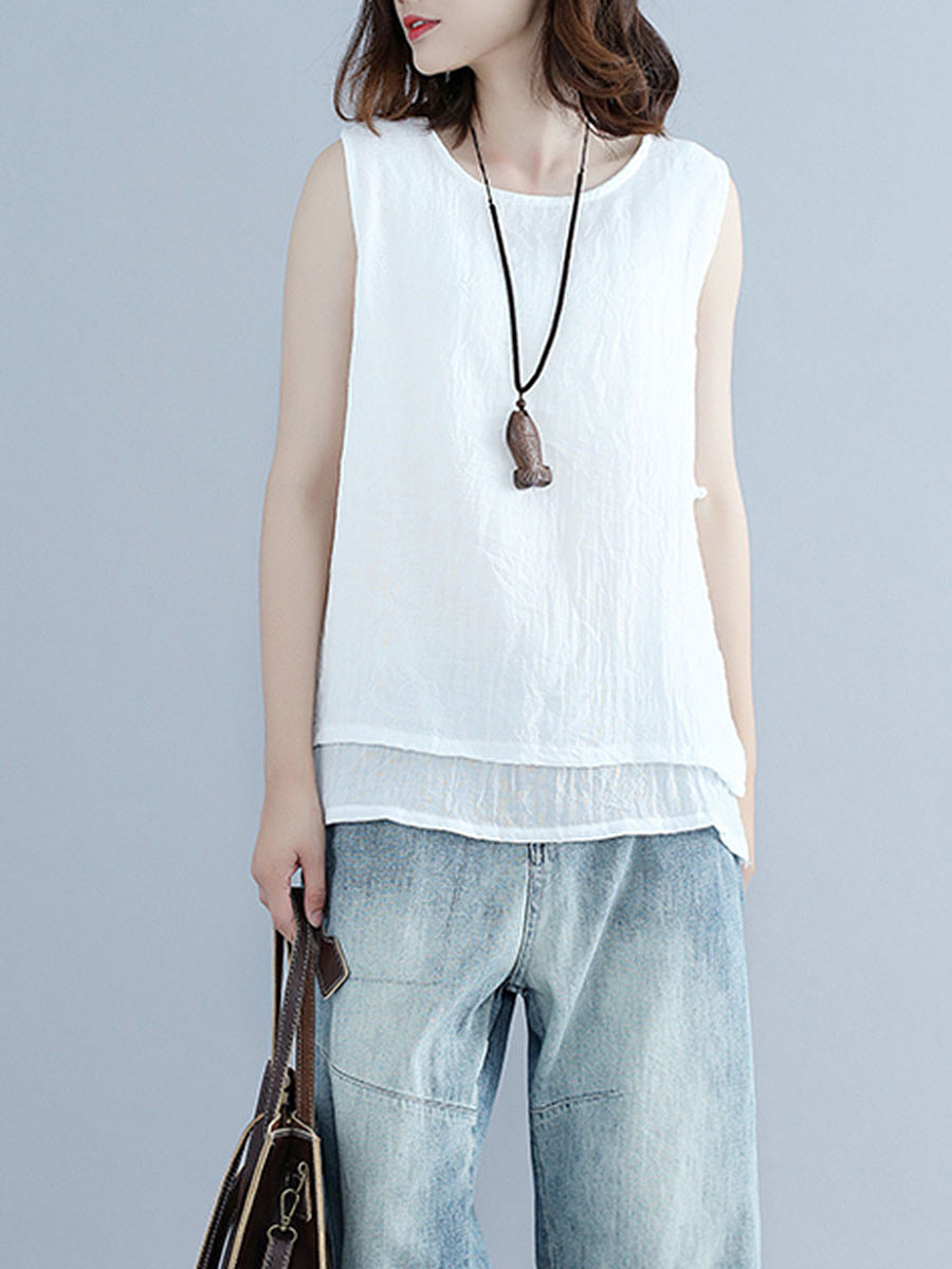Round Neck Double Layer Sleeveless T-Shirt
