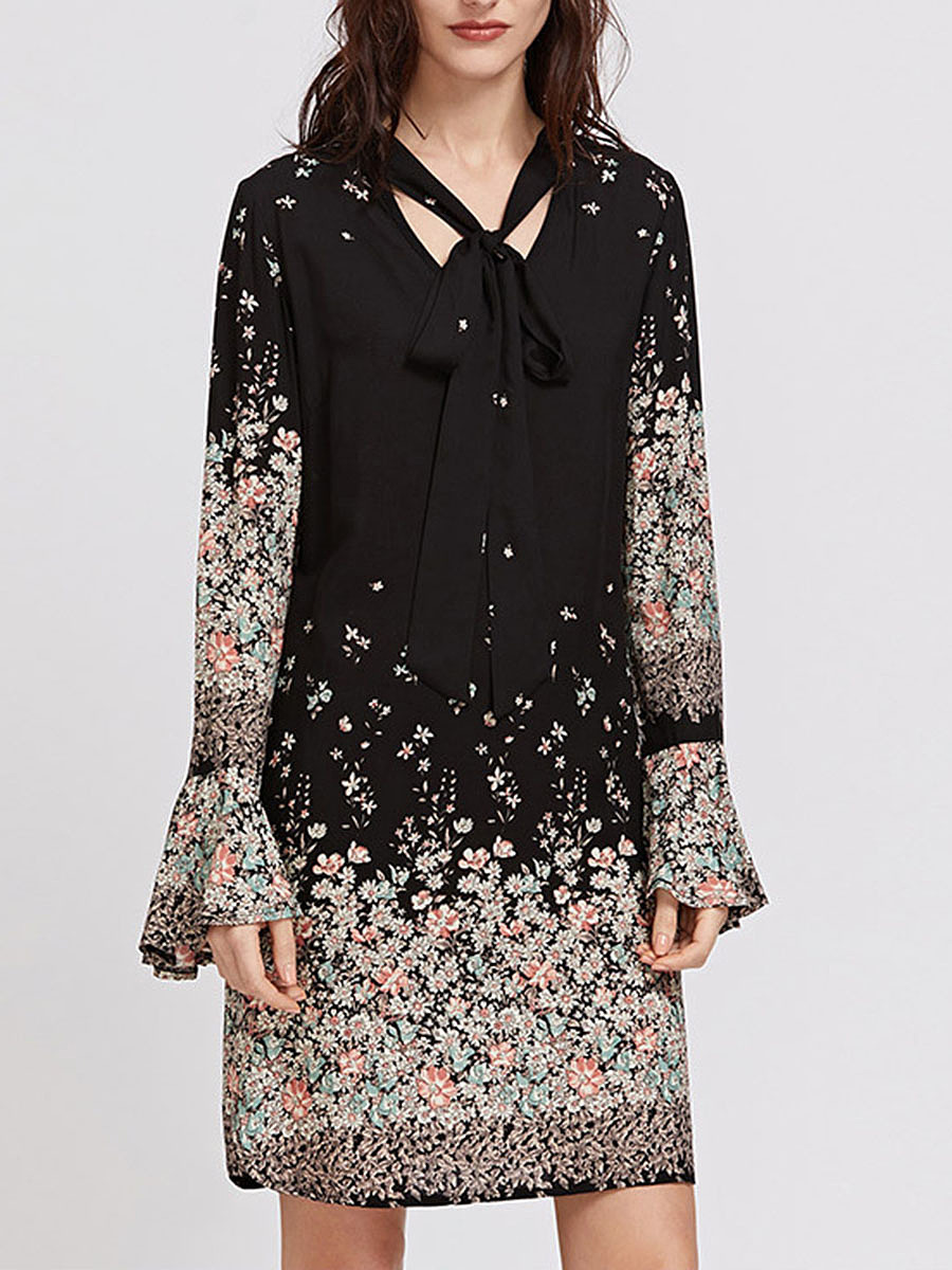 Tie Collar Floral Printed Chiffon Shift Dress