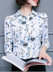 Summer  Cotton  Women  Turn Down Collar  Floral Printed  Long Sleeve Blouses