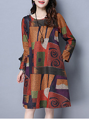 Casual-Color-Block-Printed-Round-Neck-Shift-Dress