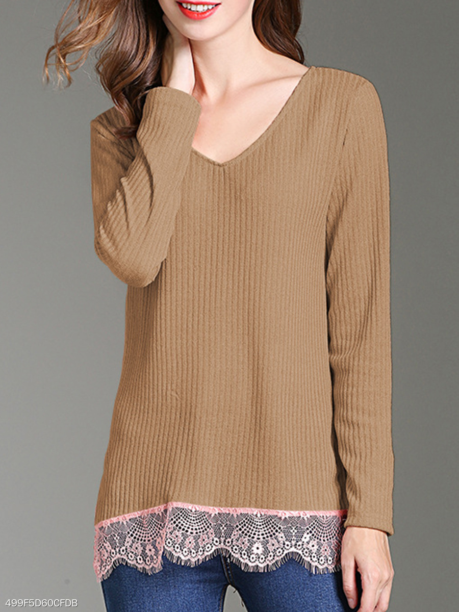 V Neck  Patchwork  Plain Knit Pullover