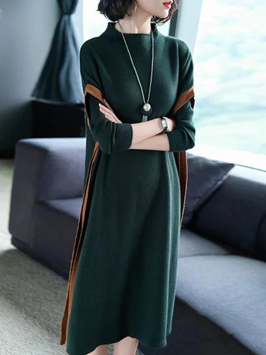 Plain  Cotton Blend Maxi Dress