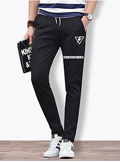 Mens Casual Pocket Printed Slim-Leg Pants