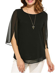 Spring Summer  Chiffon  Women  Round Neck  See-Through  Plain  Three-Quarter Sleeve Blouses