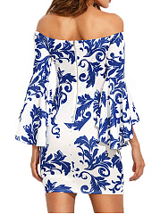 Open Shoulder  Abstract Print  Blend Bodycon Dress