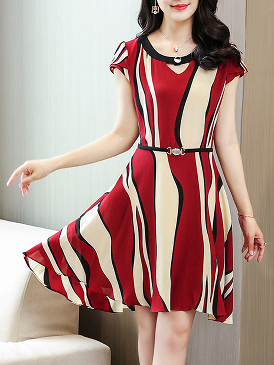 Asymmetric Stripe Round Neck Keyhole Skater Dress