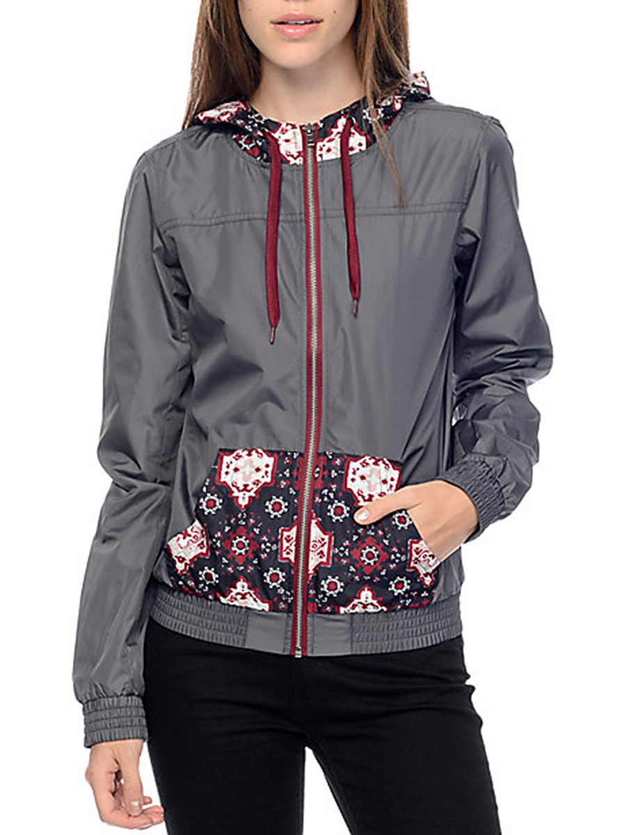 Hooded  Patch Pocket  Tribal Printed Jacket