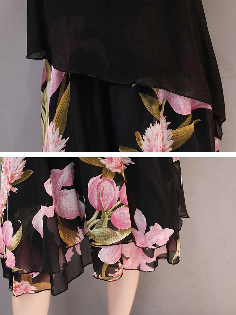 Round Neck  Floral Printed Chiffon Skater Dress