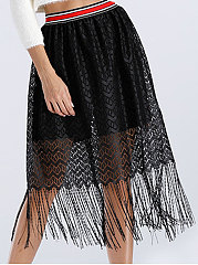 See-Through  Plain  A-Line Knee-Length Skirts