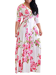 Deep V-Neck  Bowknot  Floral Printed Plus Size Midi  Maxi Dress