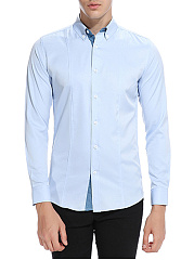 Button-Down-Collar-Solid-Men-Shirts
