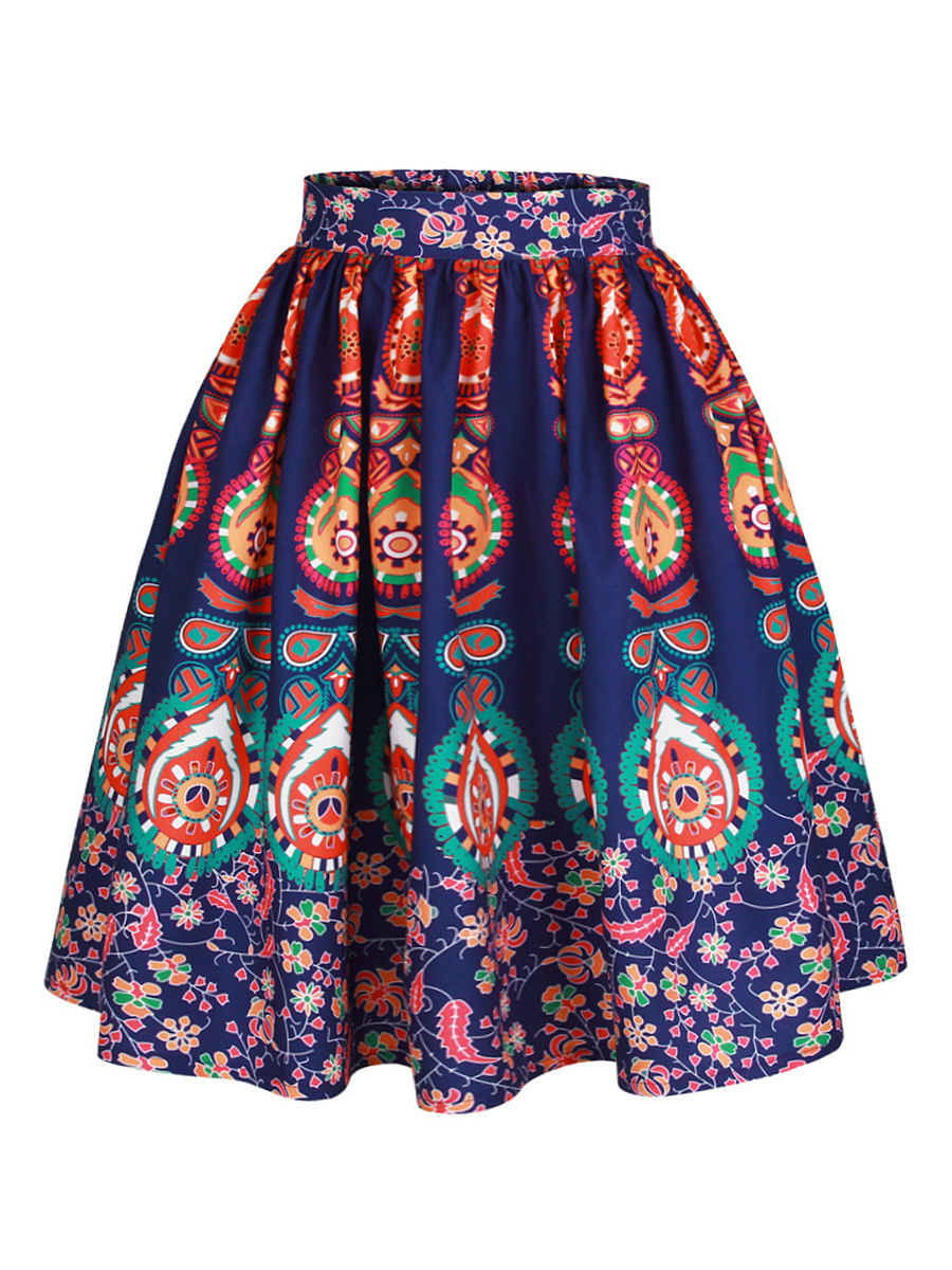 Colorful Tribal Printed Flared Midi Skirt