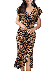 V-Neck  Leopard Bodycon Dress
