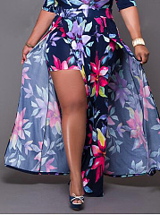 Off Shoulder  Slit  Abstract Print Plus Size Midi & Maxi Dresses