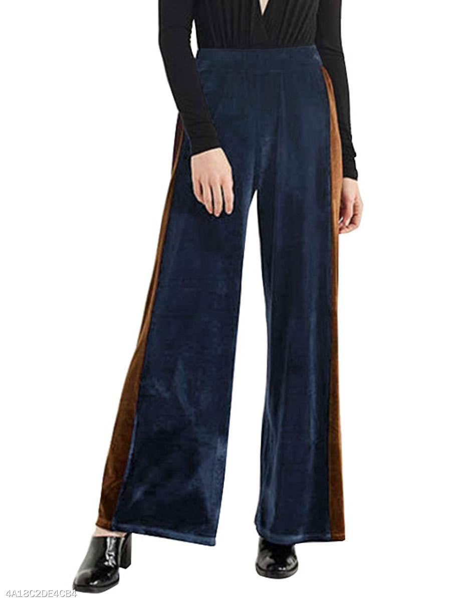 Cutout  Color Block  Wide-Leg  High-Rise Casual Pants