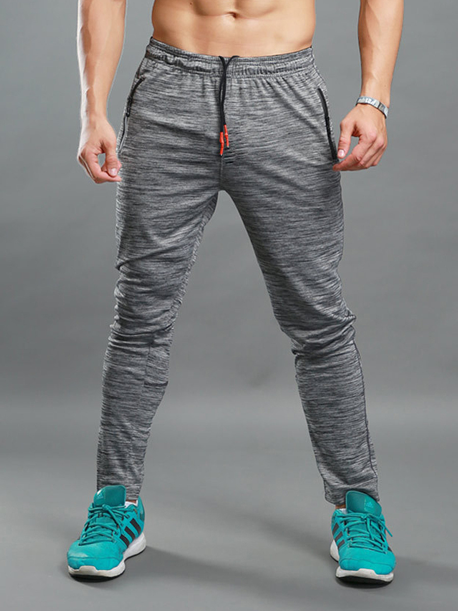 Elastic Waist Zips Pocket Men's Sport Pants