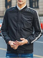 Band-Collar-Men-Striped-Pocket-Jacket
