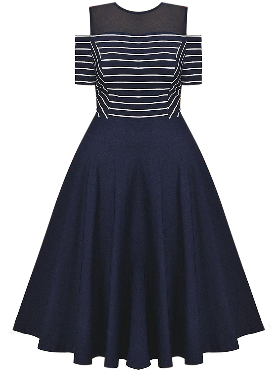 Open Shoulder Striped Hollow Out Midi Skater Dress