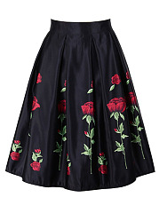Floral-Printed-Elastic-Waist-Inverted-Pleat-Flared-Midi-Skirt